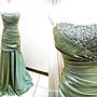 *~時尚屋~*婚紗禮服~綠色露肩華麗設計師窄擺造型款~二手禮服~B428(歡迎預約試穿)