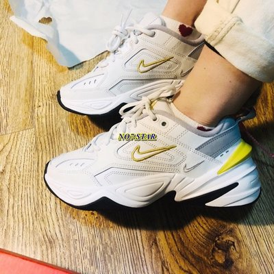 Nike Monarch M2K Tekno 復古 老爹鞋 皮革 米白 香蕉黃 增高 厚底 女鞋 AO3108-009