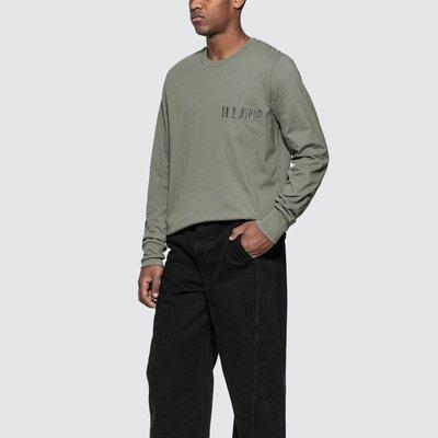 Helmut Lang - Raised Font Long Sleeve T-Shirt 男Logo印花長T 折扣代購中