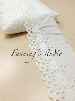 【芬妮卡Fanning服飾材料工坊】推薦款 鬱金香綻放棉布蕾絲 高8cm 1碼入