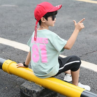 hello小店-男童套裝2019新款夏款兒童時尚洋氣兩件套大童夏天12-15歲潮流酷#兒童上衣#襯衫#短袖t恤#