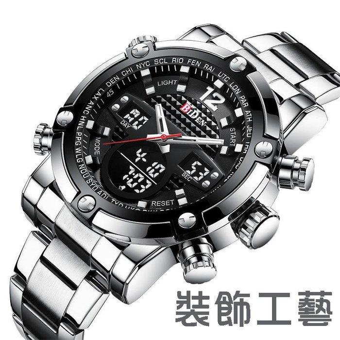 拜登新款手錶雙機芯大錶盤鋼帶男士手錶