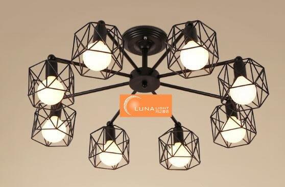 【LUNA LIGHT 月之燈坊】美式復古倉庫工業框架鐵藝三燈吸頂燈(C-103),可加購LED燈泡
