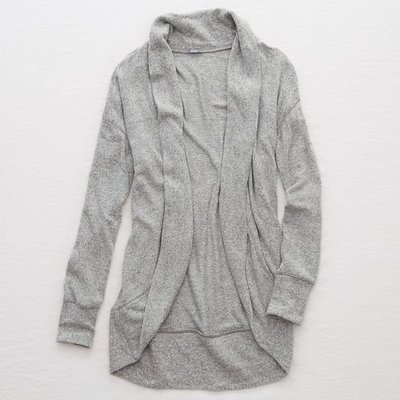 Maple麋鹿小舖 American Eagle * AE 灰色開襟棉質外套 * ( 現貨M號 )