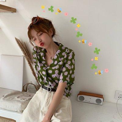 VSVSHOP♥實品照 復古配色小雛菊翻領顯瘦短款短袖襯衫 (藍/綠/桔紅) P95603