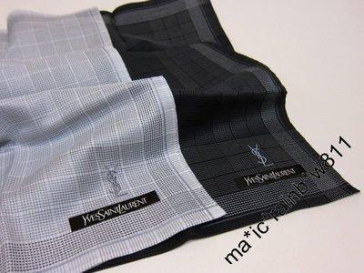 YSL 日版 方巾,手帕 ( LOGO刺繡 小方格 ) 購自日本 ,YS0093