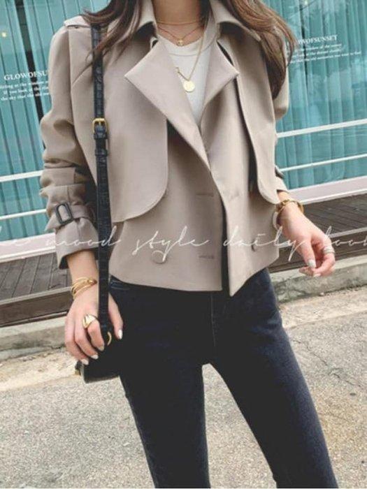 韓國正品-(預購) - 秋天必備 短版風衣外套