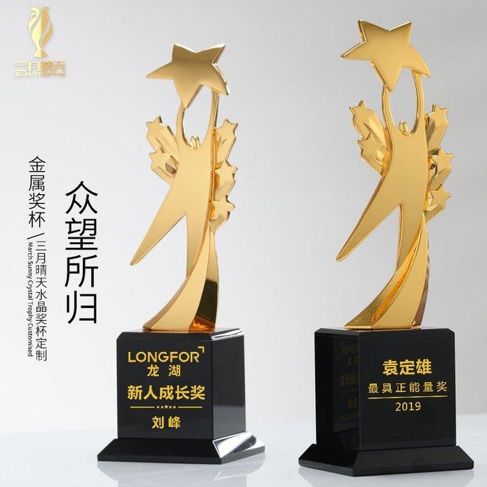 千夢貨鋪-水晶金屬獎杯奧斯卡小金人獎牌定制定做創意五角星制作刻字