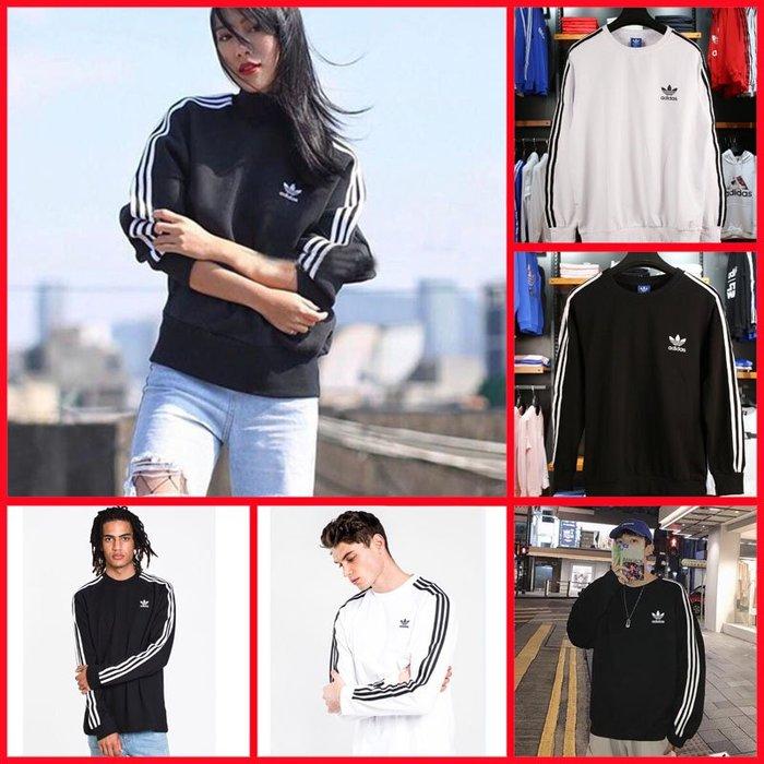 Adidas 薄長袖 長袖 愛迪達 三葉草 三線 黑 白 DV1560 ED5959 男 女款