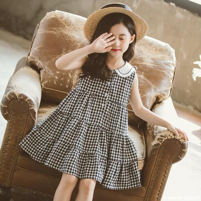 米羅SHOP 童裝女童連衣裙2020潮新款夏裝小女孩公主裙百搭中大童裙子格子裙潮ML686