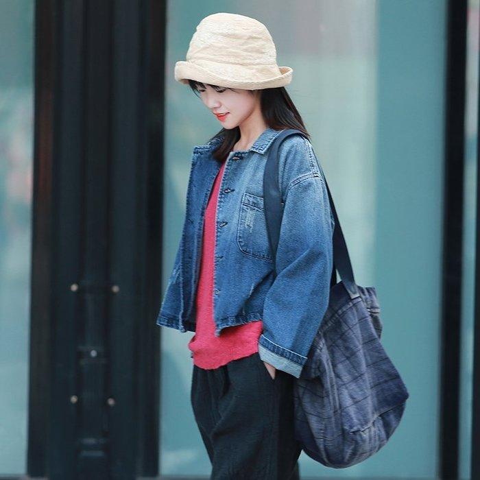 【鈷藍家】棉麻臆想 文藝牛仔小開衫女裝格外秋季新品純棉寬鬆休閒短上衣女牛仔外套