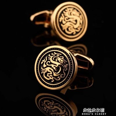 ZIHOPE 中國風龍袖扣鍍金色圓形袖釘法式女袖口扣男士襯衫扣禮物ZI812