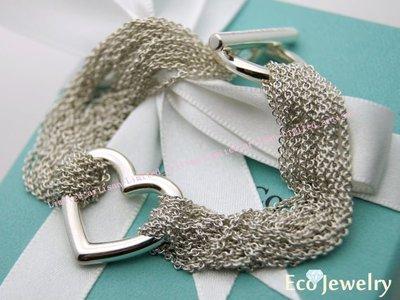 《Eco-jewelry》【Tiffany&Co】經典款 T扣open heart多鍊手鍊純銀925手鍊~專櫃真品已送洗
