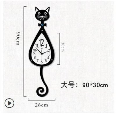 ZIHOPE 貓咪掛鐘創意客廳現代簡約鐘表時尚卡通掛表臥室靜音ZI812