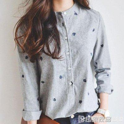 哆啦本鋪 2019春裝新款襯衫女修身 韓版精品寬鬆顯瘦百搭學生棉麻長袖上衣 D655