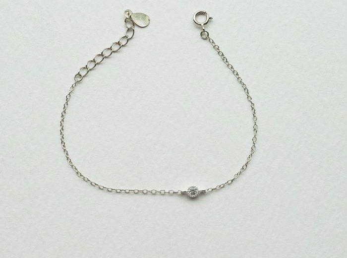 [Le Bonheur Line] 幸福線 手工/ 銀鏈款 925純銀 銀小鑚/手鍊 飾品 超小 閃亮 銀飾 鑚石 迷你
