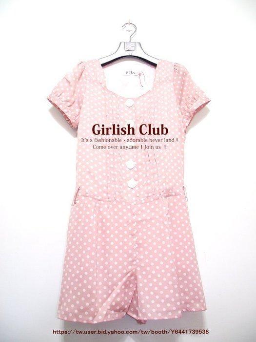 【Girlish Club】專櫃dita普普風圓點點連身褲吊牌3680粉S(m865)iroo韓國sz洋裝二三一元起標