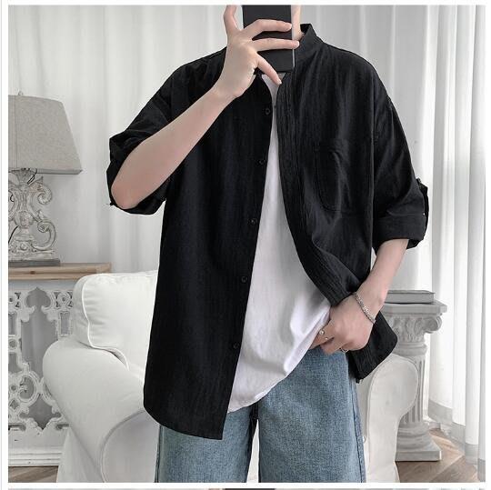 FINDSENSE X  男士 薄款 純色 短袖襯衫 男 上衣情侶襯衣潮襯衫 西裝襯衫