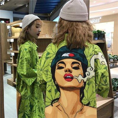 小香風 短袖T恤 時尚穿搭 復古港風chic綠色襯衣寬松印花垂感短袖花襯衫女設計感小眾港味潮