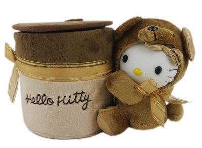 【卡漫迷】Hello Kitty 泰迪熊 置物桶 ㊣版 三麗鷗 凱蒂貓 車用 掀蓋式  垃圾桶 可脫帽~460元