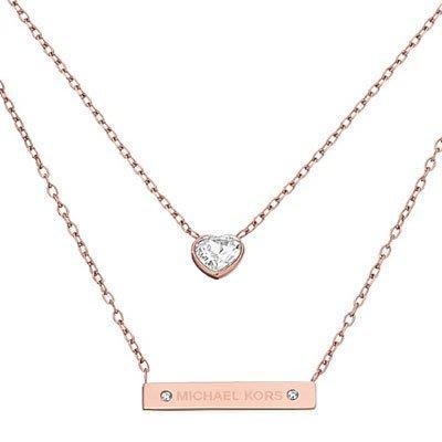一元起標 美國代購 Michael kors /MK  氣質雙層水晶愛心 桃心項鍊 不易褪色 標玫瑰金色