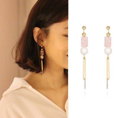 【韓Lin代購】韓國 GET ME BLIN- 明星同款鈦針粉紅長耳環 PINK PILLAR