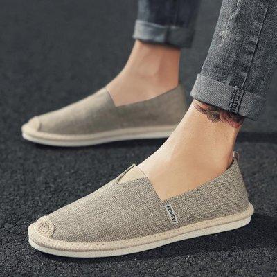 夏季帆布鞋男士不系帶一腳蹬懶人潮鞋透氣亞麻布鞋正韓百搭男鞋子--晴景街