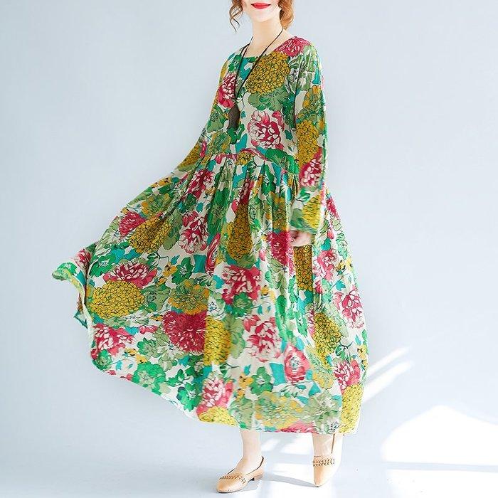 復古 連身裙 甜美 印花 長袖洋裝 新連衣裙民族風寬松復古花色超大裙擺長裙胖mm200斤