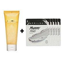 April Skin Real Calendula Peel Off Mask 金盞花去角質面膜 100g+Mummy Mud Mask 夏威夷火山泥漿面膜5塊