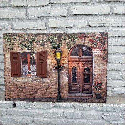 立體無框畫 立體鐵窗戶門外景色街景圖4...