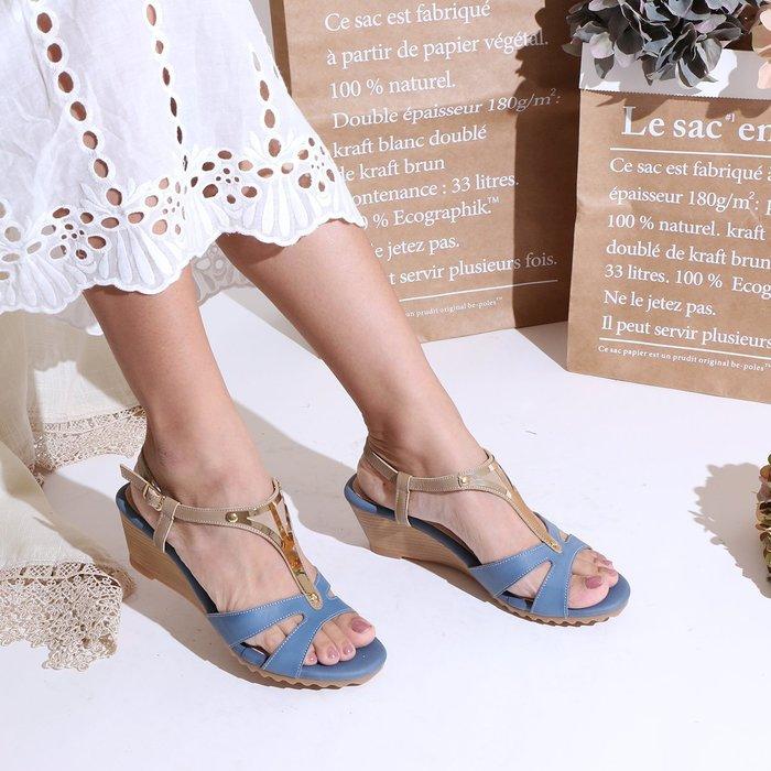涼鞋 楔形鞋 古埃及風金屬楔形涼鞋 顯瘦內縮包覆式剪裁 超Q彈5mm高密度乳膠真皮鞋墊 MIT台灣製造 丹妮鞋屋