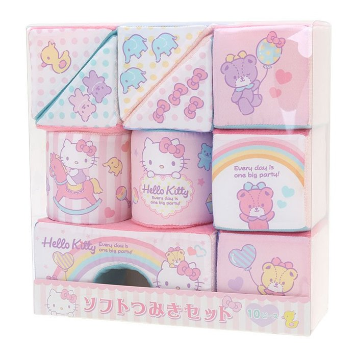 Hello Kitty 軟積木組 小日尼三 日本帶回商品 初生兒 滿月最佳禮物