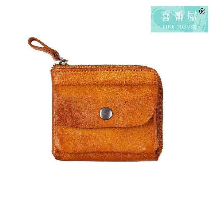 【喜番屋】真皮頭層牛皮復古皮夾皮包零錢包硬幣包收納包男夾女夾【LH607】