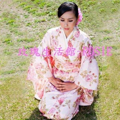 【玫瑰生活館】~ ~簡易日式和服~粉紅花朵和服浴衣套~ 均碼 ,綢緞厚料款