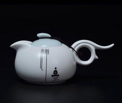 2017~小號定窯白瓷泡茶壺磨砂陶瓷茶具禪意泡茶壺-QDSC-16917