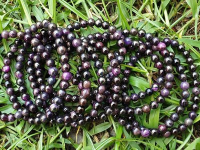 &&~紫雲軒水晶~&&【天然金屬光深紫色系舒俱徠來石手珠/手鍊】1標1條   5.5mm