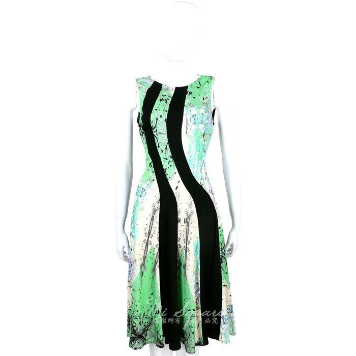米蘭廣場 CLASS roberto cavalli 黑綠拼色印花無袖洋裝 1520546-08