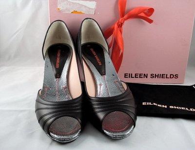 EILEEN SHIELDS Sabine 黑色真皮銀底鞋**義大利製Nappa 37.5 超美免運