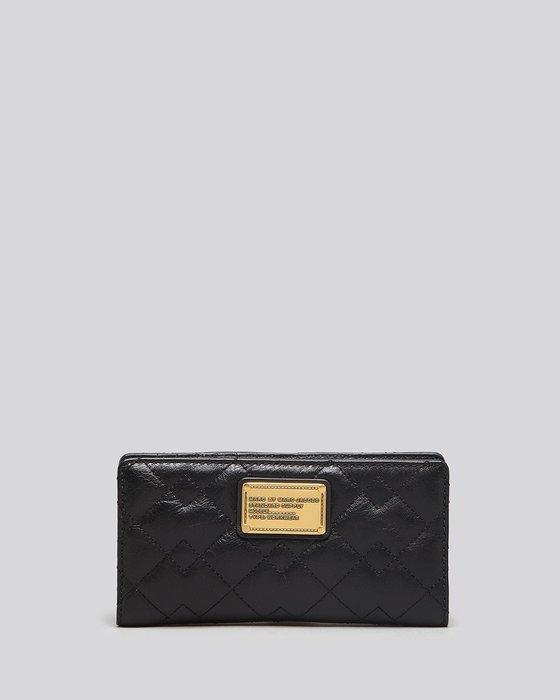 美國名牌MARC BY MARC JACOBS Wallet專櫃新款黑色菱格皮革輕便中夾錢包現貨在美特價$3680含郵