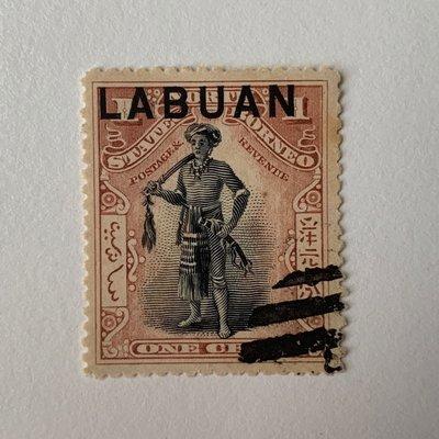 北婆羅洲加蓋納閩 North Borneo overprinted Labuan one cent