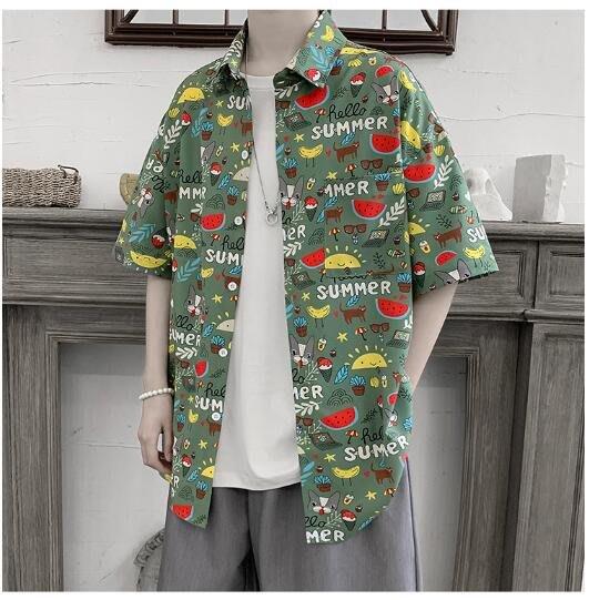 FINDSENSE X  男士 薄款 短袖襯衫 夏季男塗鴉花上衣情侶襯衣潮襯衫