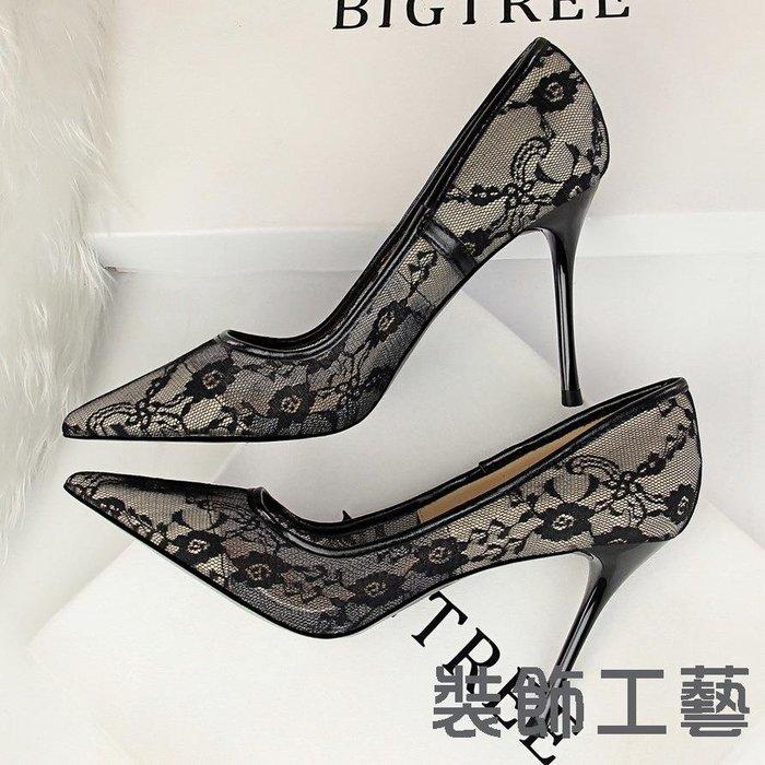 1853-1性感顯瘦高跟鞋女鞋細跟高跟淺口尖頭網狀鏤空蕾絲單鞋