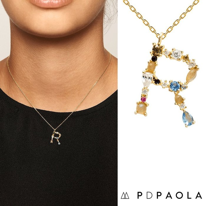 PD PAOLA 西班牙時尚潮牌 金色R字母項鍊 彩鑽項鍊 925純銀鑲18K金
