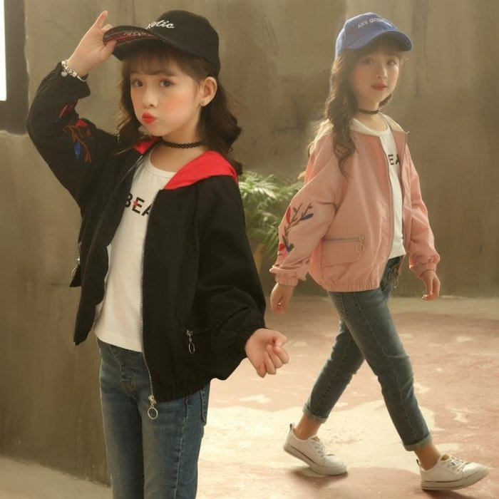 女童夾克連帽外套棒球服春秋裝潮短版正韓兒童秋季中大童-小精靈