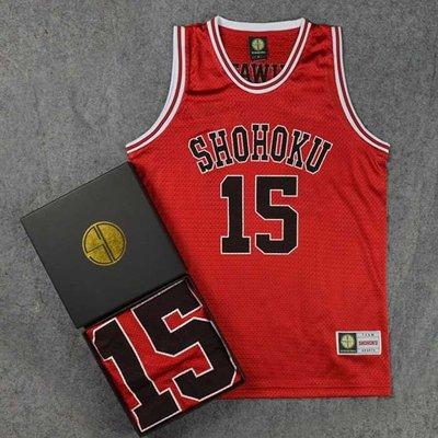 SD正品灌籃高手衣服 湘北高中15號桑田登紀籃球服籃球衣背心紅色