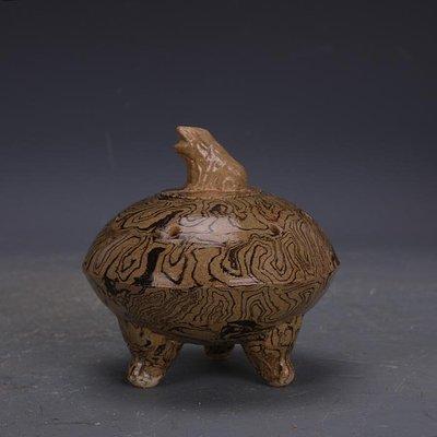【三顧茅廬 】唐代灰地全手工絞胎瓷三足香爐 文物出土古瓷器古玩古董收藏