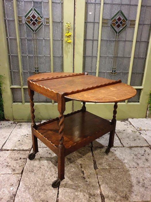 【卡卡頌 歐洲古董】🍂 英國古董 橡木 花邊  螺旋雕刻  可加大 帶輪  餐車  邊桌 推車ss0618 ✬