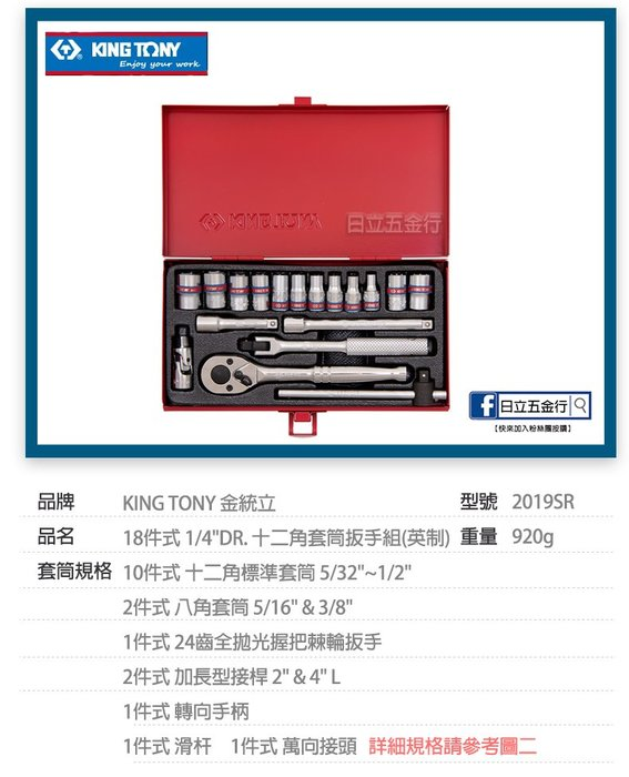 "EJ工具《附發票》2019SR 台灣製 KING TONY 18件式 1/4""DR.(2分) 十二角套筒扳手組(英制)"