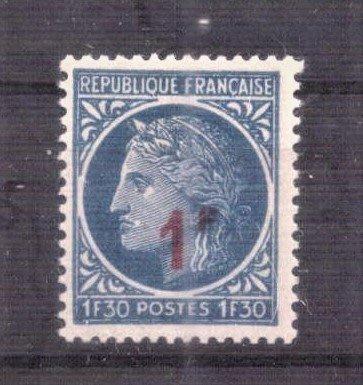 【珠璣園】F4707H 法國郵票 - 1947年 穀神星加蓋改值 1全