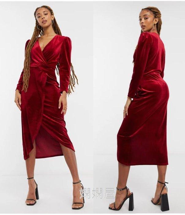 (嫻嫻屋) 英國ASOS -Miss Selfridge優雅時尚名媛紅色天鵝絨扭結V領中長裙洋裝 SJ20346